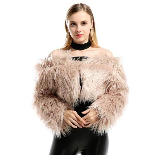 faux fur coat women 2019 new sexy one word collar long sleeve imitation fur ultra-short coat women fashion shawl cardigan top