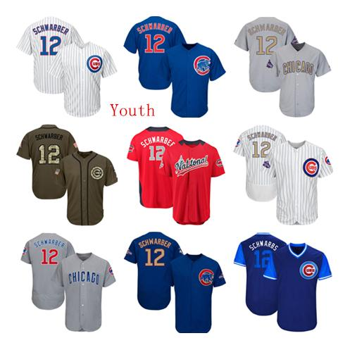 Youth Kids Child Chicago Cubs Baseball Jerseys 12 Kyle Schwarber Jersey White Blue Gray Grey Green Salute Players Weekend All Star