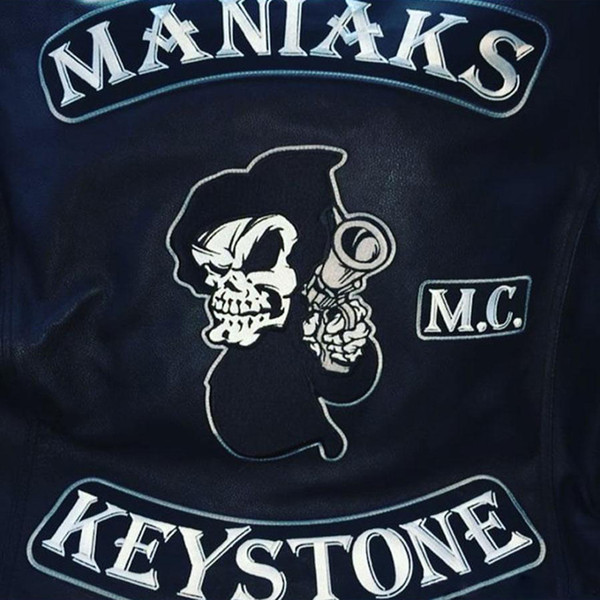 New Fashion MANIAKS KEYSTONE Embroidery Patches Full Back Size Custom Iron On Clothes For MC Biker Free Shipping