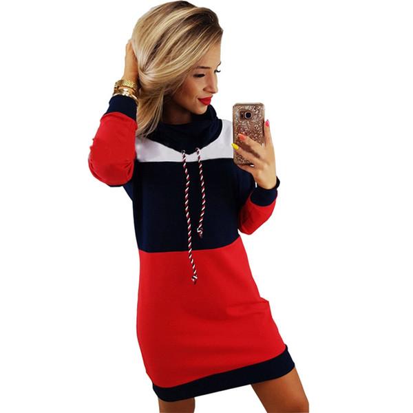 Robe pull à capuche femmes robe d'hiver Sweat-shirts Femme Pull Robes Pile Collier 2019 Nouveau Printemps Hiver Robe Robe mi-longue
