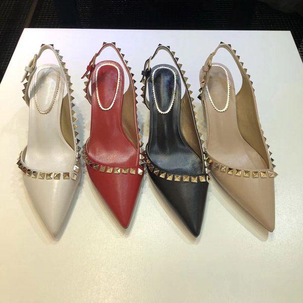 Diseñador del dedo del pie puntiagudo 2-Correa con tachuelas tacones altos Remaches de cuero Sandalias Mujeres Tachonadas con tiras Zapatos de vestir valentine tacón alto 34-41