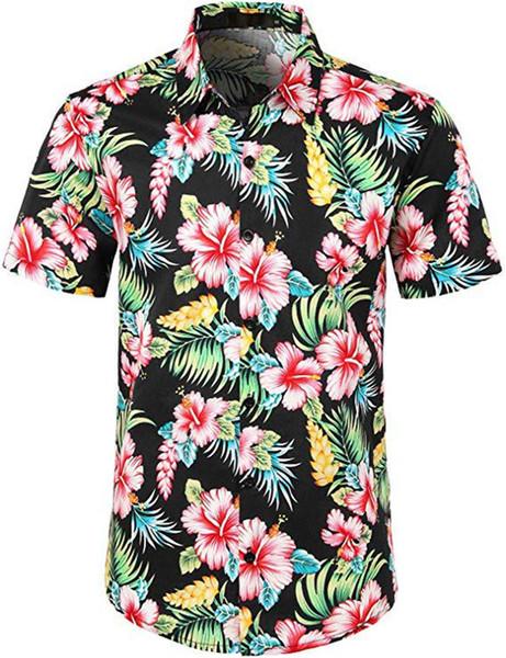 Yaz Plaj Yaprak Baskı Kısa Kollu Erkek Gömlek Moda Yuvarlak Boyun Düğme Ile Mens Casual Gömlek
