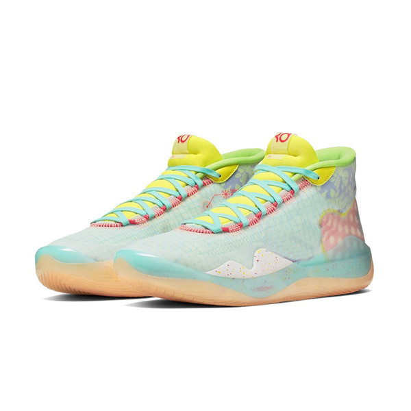 Mens What the kd 12 basketball shoes Floral MVP Neon Yellow Easters Christmas lebron 16 kevin durant high cut sneakers tennis with box size