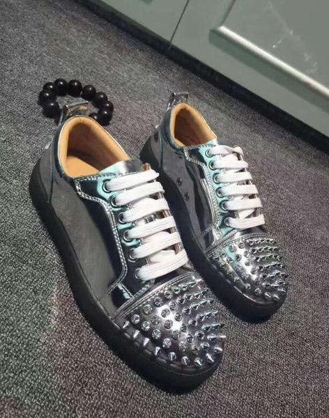 Designs Shoes Spike junior calf Low Cut Mix 20 Red Bottom Sneaker Luxury Party Wedding Shoes Genuine Leather Spikes Casual ShoesL30