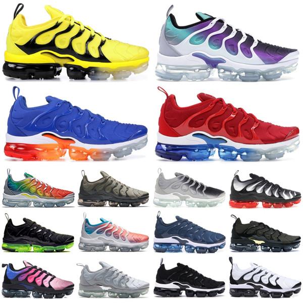 top popular 2019 Black Metallic Gold TN Plus Men Designer Shoes Rainbow Bumblebee Persian Violet Triple Black Women Shoes Sport Running Sneakers 2019