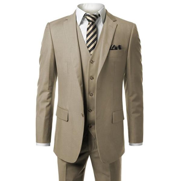 HB018 Caqui Moderno para hombre, traje de 3 piezas Blazer, chaqueta, chaleco, pantalones, medida a medida, traje masculino (abrigo + pantalones + chaleco)