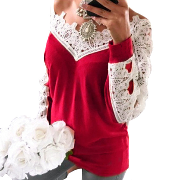 Fashion Autumn Spring Women Casual Lace Splicing Knitwear cotton+polyester V-neck Long Sleeve Pullovers Tops