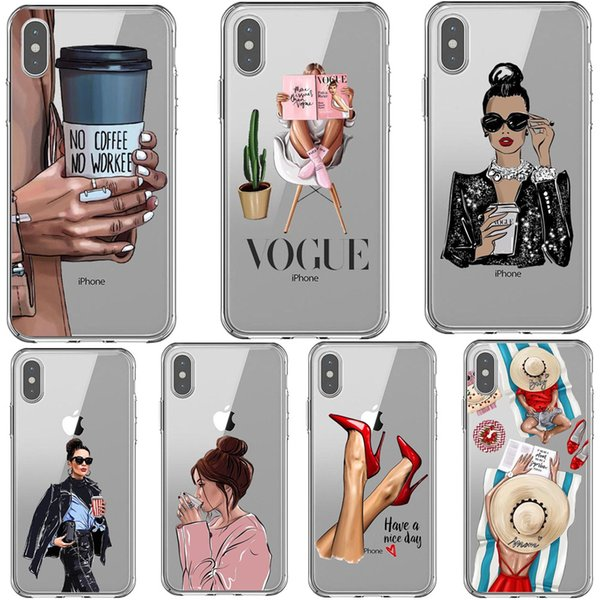 VOGUE Queen Princess Girl Female boss coffee Soft Silicone TPU phone Case For iPhone 5S SE 6 6sPlus 7 8 Plus X XS XR XS MAX