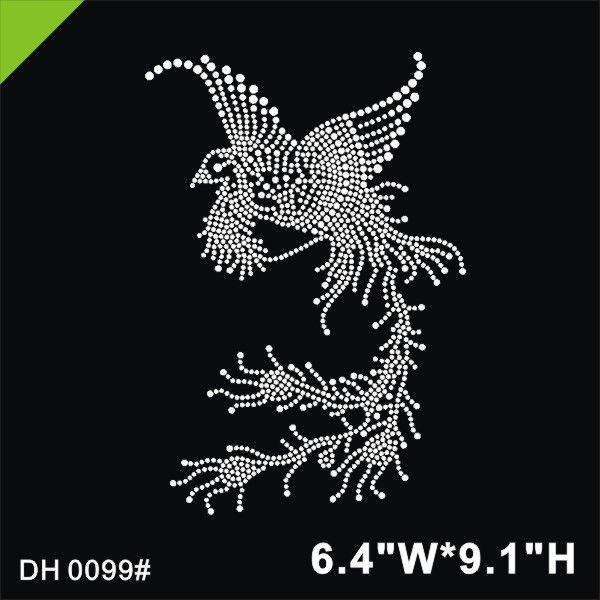 Free shipping New bird design hot fix rhinestones heat transfer design iron on motifs patches, DIY motif rhinestonesDIY DH0099#