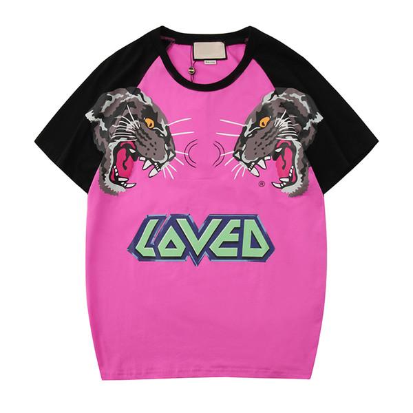 2019 Hommes Designer T-Shirts Marque De Mode Tigre Lettre Imprimer Patchwork Blouses Casual Tees D'été À Manches Courtes T-shirt S-2XL En Gros