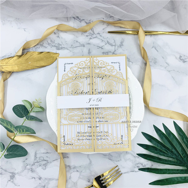 top popular Pearl Gold Floral Laser Cut Wedding Invitations, Printed Customized Insert And Belly Band, Free Shipping Via UPS 2021