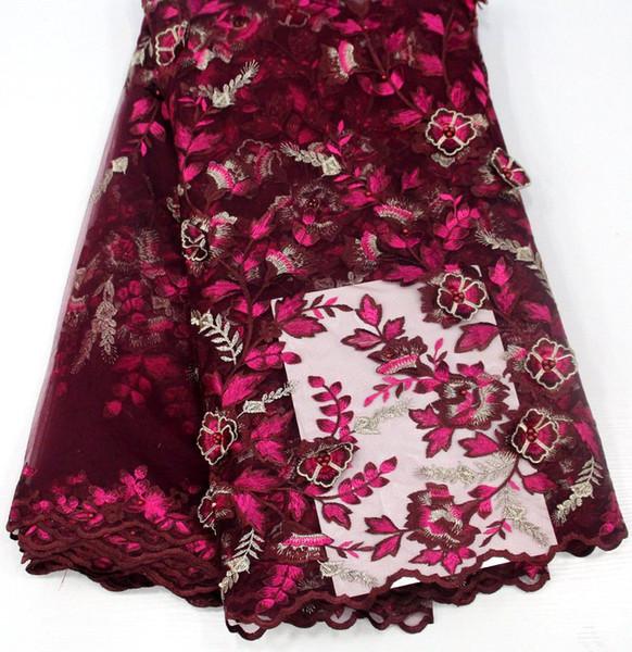 Sıcak satış boncuk ile Afrika tül dantel yüksek kalite 3D çiçek nakış dantel doku güzel Nijeryalı kumaş fransız dantel kumaş