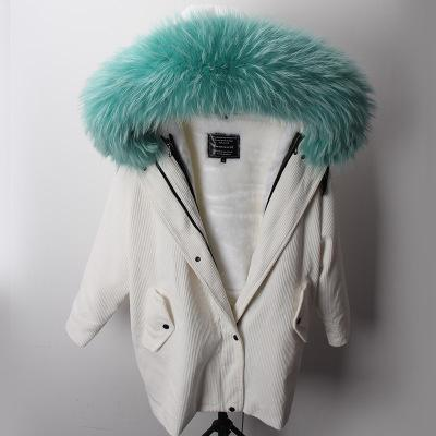Ladies White Corduroy Long parkas hooded with raccoon fur collar + warm velvet liner plus coat Batwing Sleeve Sweden Norway