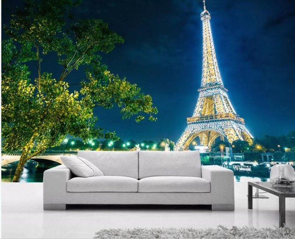 Compre Fondo De Pantalla Personalizado Para Paredes Paris Night Eiffel Tower Escena Nocturna Fondo Hd Pintura Mural A 1639 Del Wallpaper20151688