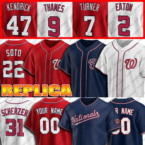 top popular 31 Max Scherzer Jersey 22 Juan Soto Jerseys 7 Trea Turner 6 Anthony Rendon Custom Baseball Jersey Adam Eaton Eric Thames Carter Kieboom 2020