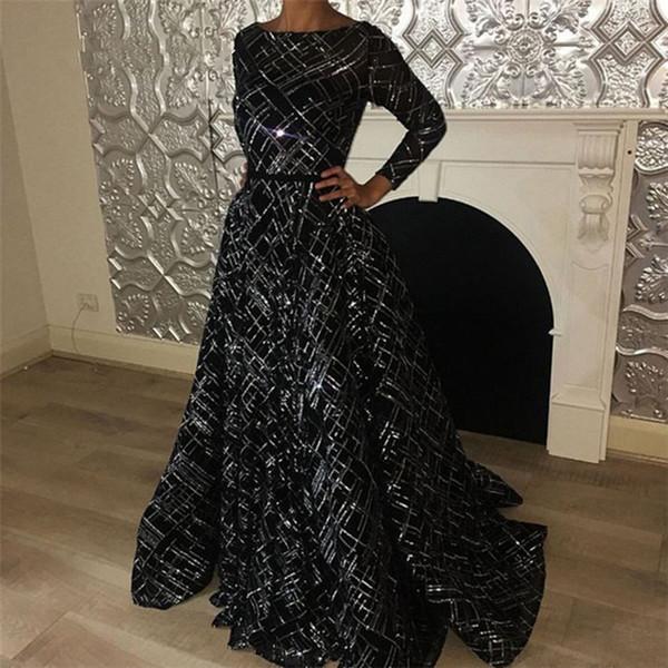 elegantes vestidos de noche formales de la celebridad de la manga larga Vestidos para ocasiones especiales vestido de fiesta de noche de baile Vestidos Sexy Girl Negro marroquí caftán