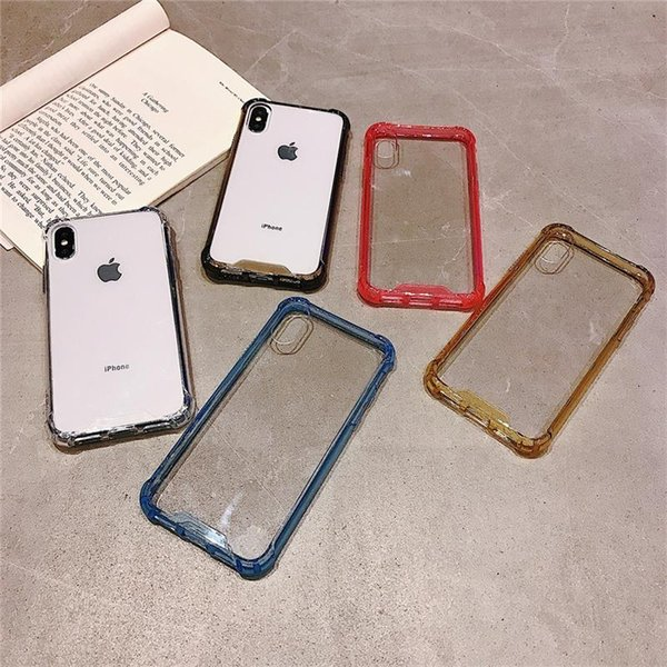 For iPhone Acrylic Airbag Phone Case 5 Colors Transparent TPU + PC Case Protector Shockproof Ultra Thin Phone Cover For iPhone X XR XS MAX