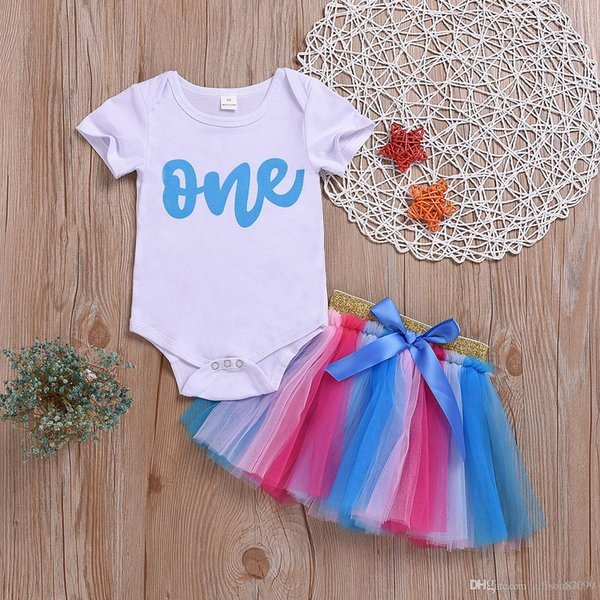 2019 Ins Cute Baby girl clothes Outfits ONE letters Bodysuit Romper Onesies Birthday + Colorful Bow Tutu Skirt Gold Waist 2pcs/set