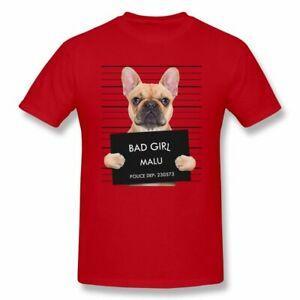 Harajuku Stylish Bulldog Mugshot Bad Girl Malu T shirt For Men Casual Round NeCustom