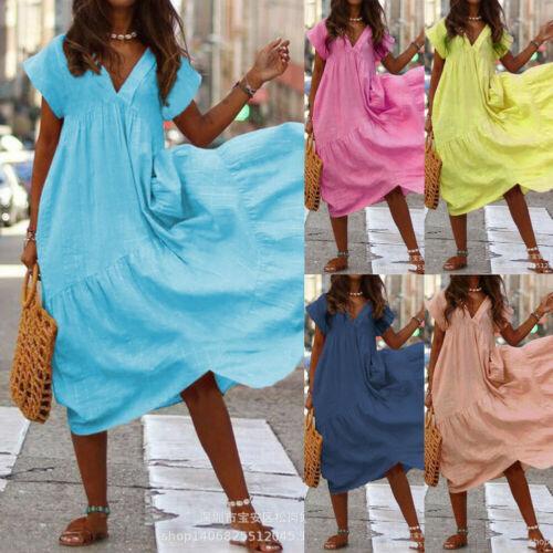 Дамы лето женщин с коротким рукавом хлопок белье Повседневных Сыпучих платья мода с коротким рукавом V шеи Сыпучих платья S-XL