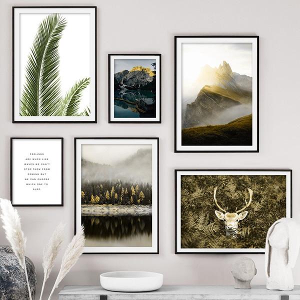 Yüksek Dağ Sika Geyik Yeşil Bitki Orman Duvar Sanat Tuval Boyama Nordic Poster Ve Oturma Odası Dekor Için Baskı Duvar Resimleri