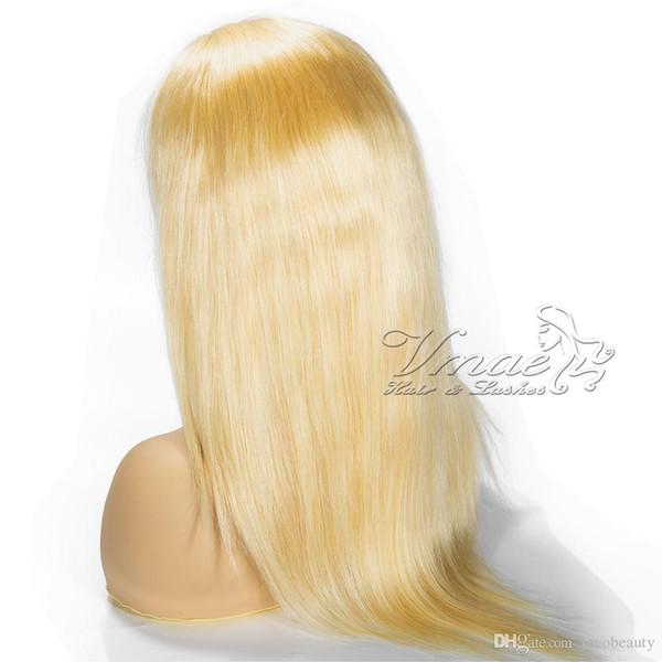 130 밀도 러시아어 버진 소프트 터치 긴 실크 스트레이트 1b 613 금발 전체 레이스 가발 인간의 머리 가발 백인 여성을위한