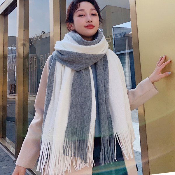 Women Scarf Double Sided Tassel Cashmere Autumn and Winter Warm Scarves Thick Fashion Wild Shawl Lady 9