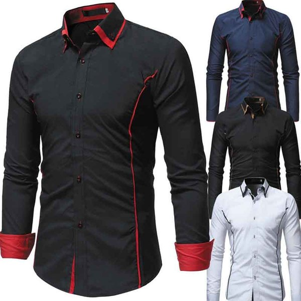 Men`s Fashion Color Matching Double Collar Long Sleeve Shirts Turn-down Collar Black Navy White Formal Shirts Top For Male 3XL