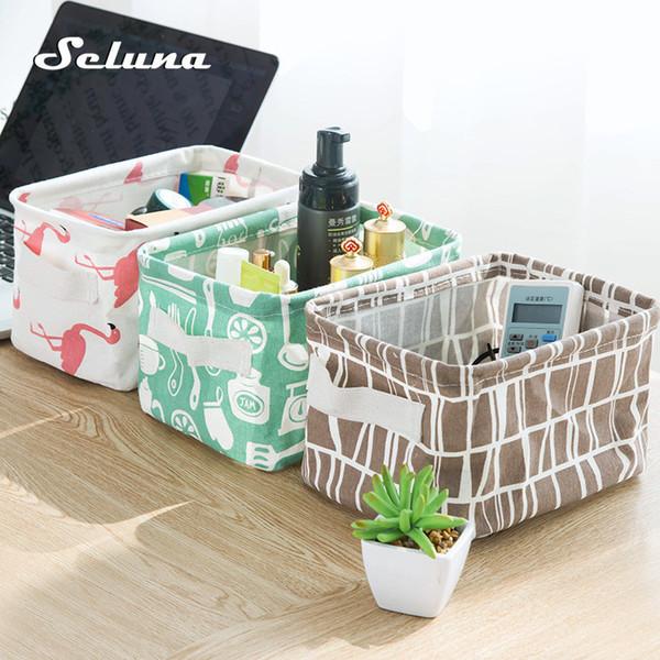 Seluna Desktop Storage Basket Cute Printing Waterproof Organizer Cotton Linen Sundries Storage Box Cabinet Underwear Storage Bag D19011201