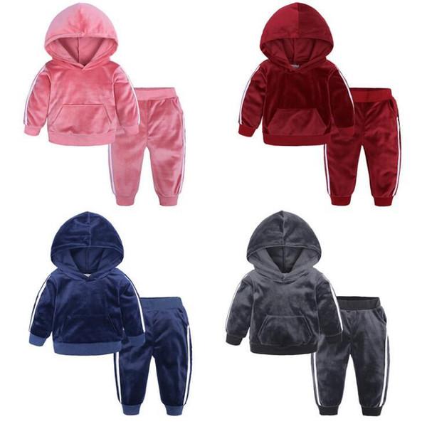 Yeni INS Bebek Erkek Kız Mektup Setleri TopT-gömlek + Pantolon Çocuklar Yürüyor bebek Rahat uzun Kollu Takım Elbise Kış Kıyafetleri Giysileri LY23