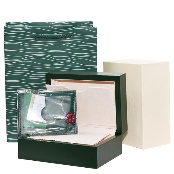 Nova versão de luxo verde escuro caixa de relógio caixa de presente para relógios rolex tags cartão de livreto e papéis em inglês suíço relógios caixas