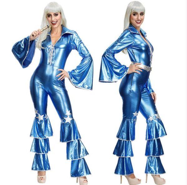 Hot US couro falso brilho da estrela azul calças sexy do Natal dança clube de pólo de palco de dança apertados fundos incendiar bodysuit traje cosplay