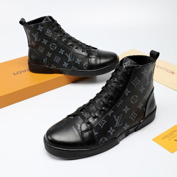Loui 13 vuitton 13 lv tyle fa hion hoe men with box luxury ankle boot high leather men hoe ca ual zapato de hombre fa hion, Black