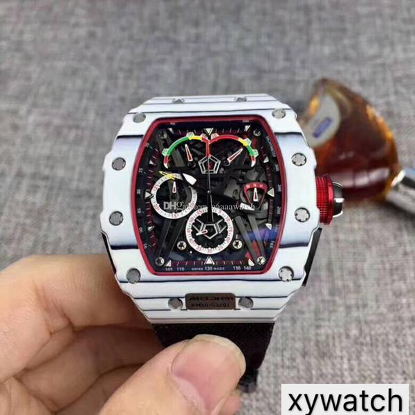 Top Sports luxury Watch 50-03 Watch Swiss Quartz Chronograph Movement Skeleton Dial Carbon Fiber Case Sapphire Senior canvas Rubber Strap