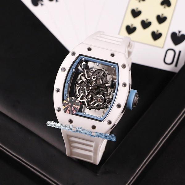 Versão de nível superior RM055 Skeleton Dial Compostos de nanocerâmica branca Japão Miyota Automatic RM 055 Homens Assista Relógios com pulseira de borracha branca