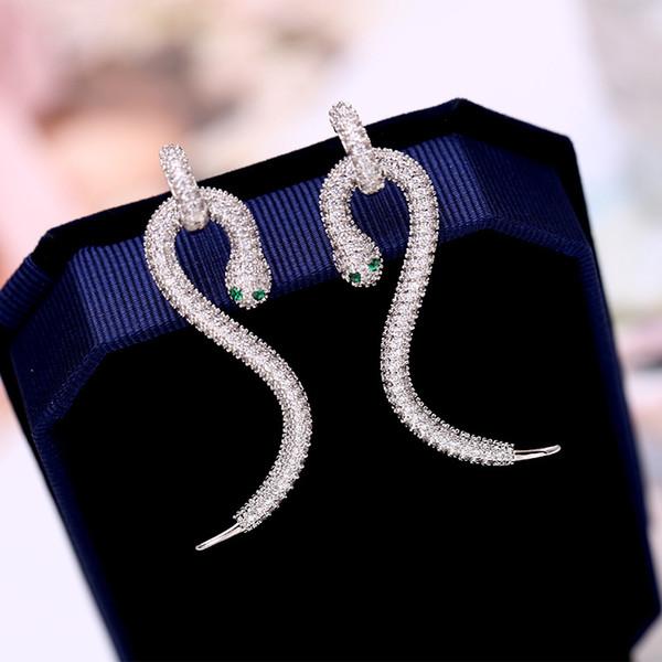 Designer Snake Head Earrings for Women 2019 Summer Fashion Long Dangle Earrings With CZ Luxury Wedding Jewelry