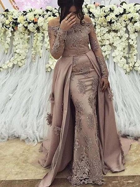 Скромная Arabic с длинным рукавом Вечерние платья Русалка Пром платье 2019 Элегантный женщин Gala Plus Размер платье партии