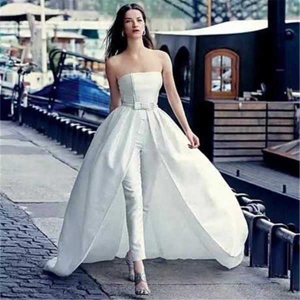 2018 Elegant White Satin Jumpsuits Prom Dresses Custom Strapless Detachable Train Evening Gowns Plus Size Party/Cocktail Dress With Belt