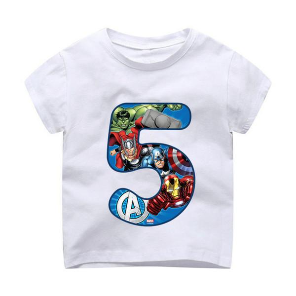 Summer 2019 Happy Birthday Avengers Number 1~9th Kids T-shirts Superhero Boy Tshirt Baby Girl Spiderman kid Clothes dHKP1003