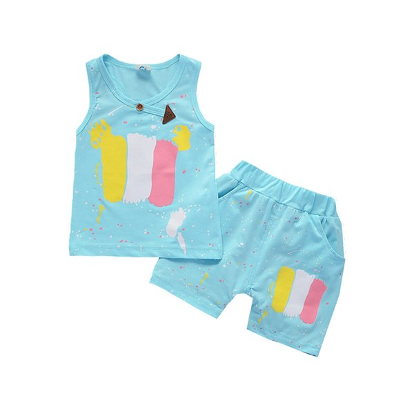 Baby Colorful Doodle Tracksuits Kids Boys Girls Vest Shorts 2Pcs/Set Children Active Clothes Toddler Fashion Cotton Clothing Set