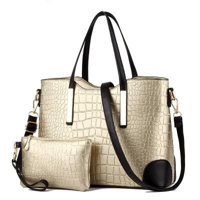 Hot crocodile pattern big bag European and American fashion tide ladies shoulder bag mother bag two-piece