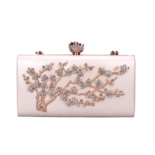Pink sugao GOLD Diamond Crystal Women Evening Cocktail Party Clutches Bags Wedding Dress Gold Handbag Purse Bridal Metal Cluth bag