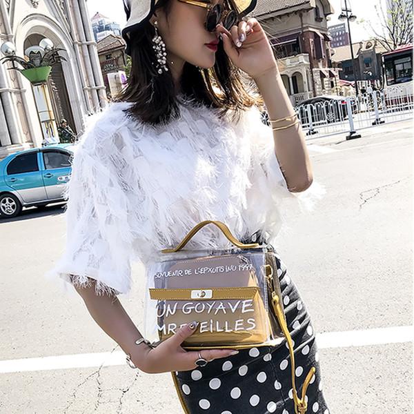 Appliques Lettre Flap Transparent Gelée Sacs Femme Sacs À Main Haut-poignée En Cuir Pu Femmes Sacs à Bandoulière Sac Composite Bolsa