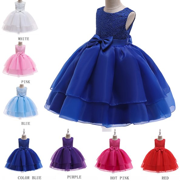 Bowknot Flower Princess Dress Summer Sleeveless Girl Lace Dress For Wedding Floral Kids Birthday Layer Dresses New Designer Princess Gown