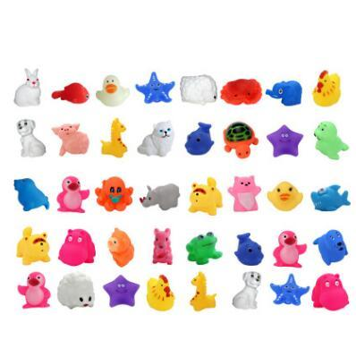 Cartoon animal bathing toys kawaii frog fish octopus mini sound toys child enamel boy water toy pinched cartoon animal toys
