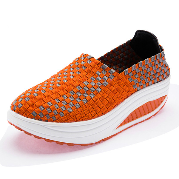 Designer Dress Shoes Women Platform Wedges Woman Fashion Increased Internal Casual Loafers Hand Made Lycra Breathable Striking Shine Style
