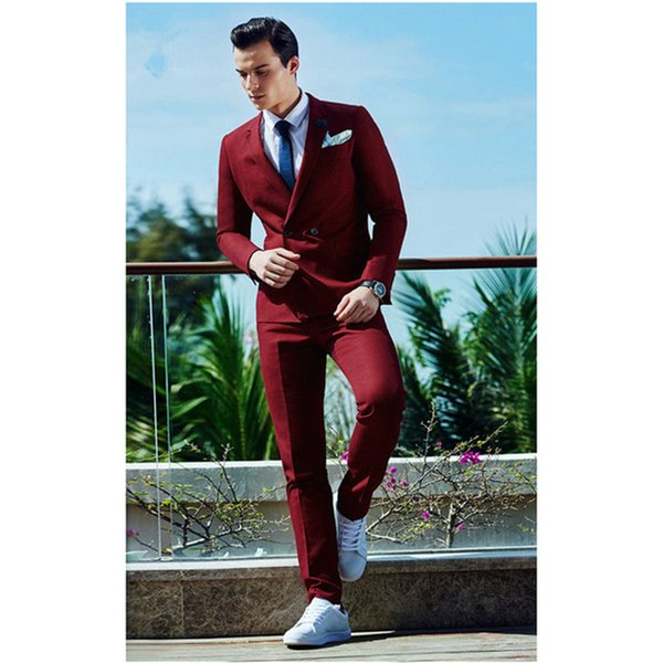 New Arrival Classic Style Burgundy Double Breasted Men Suit Terno Slim Fit Skinny 2 Piece Tuxedo Prom Jackets + Pants