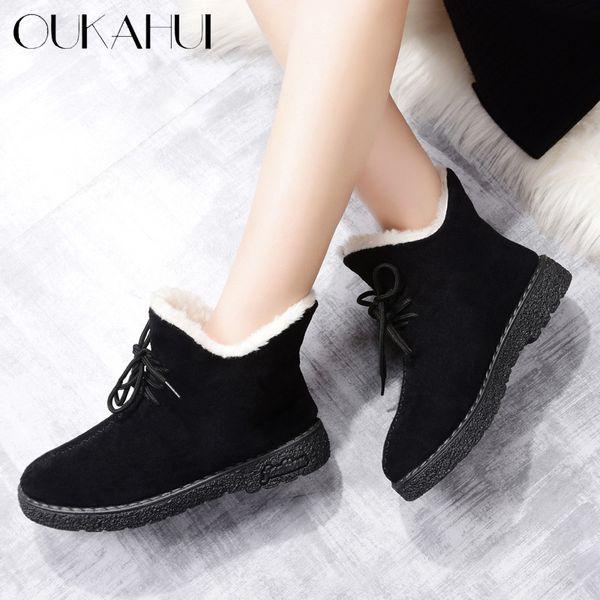 OUKAHUI 2018 Black Flat Low Heel Ankle Boots For Women Autumn Winter Warm With Plush Cotton Shoes Women Lace-Up Flock Snow Boots