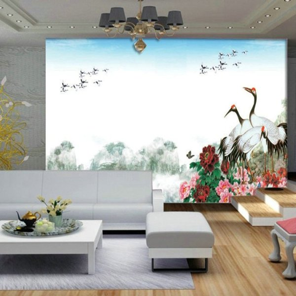 Custom home decoration wallpaper wonderland red-crown crane painting large mural living room bedroom TV background wall non-woven wallpaper