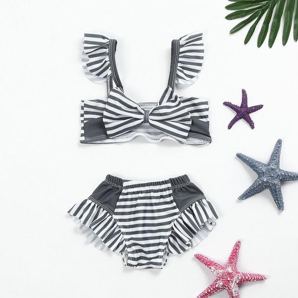 MUQGEW 2019 New Summer Bathing Suit Infant KidS Baby GirlS Swimwear Striped StrapS SwimSuit Bathing Set Beachwear